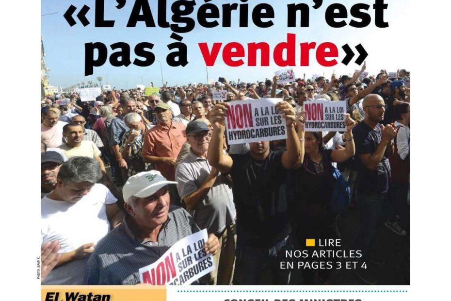 Titelbild der Tageszeitung El Watan nach dem 34. Hirak